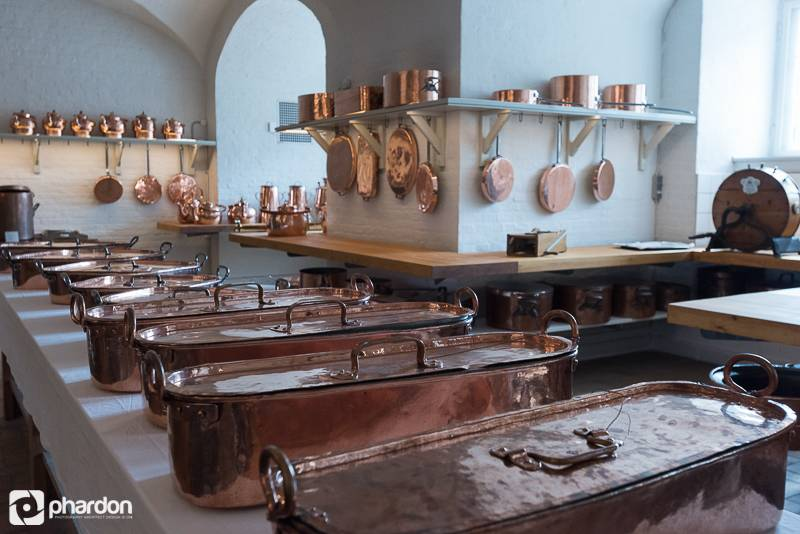 Kitchen equipments in palace in Copenhagen